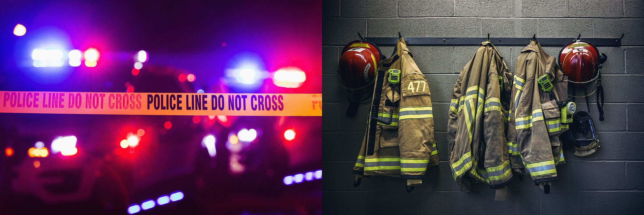 Firefighter jackets and police line